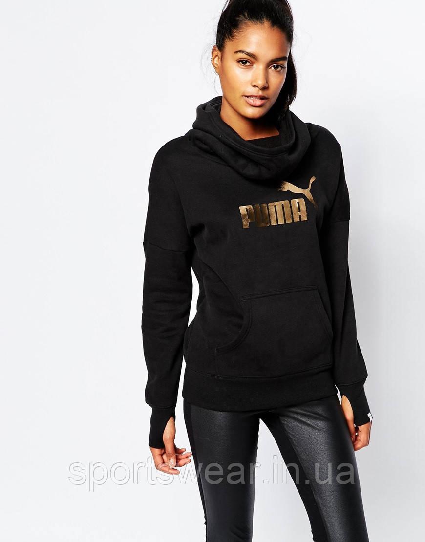 Худи черная женская с принтом Puma Gold   Толстовка