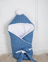 Стеганый джинсовый конверт на махре Adriana