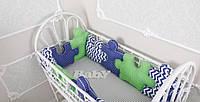 Комплект бортиков в кроватку и простынь Пазлы для Мальчика 12 шт.