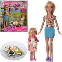 Кукла DEFA 8282 22см, с дочкой 13см, пикник, собачка, рюкзак, возд.змей, в кор-ке,25-25,5-5см