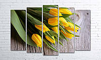 """Модульная картина на полотне """"Желтые тюльпаны"""""""