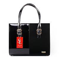 Женская сумка комби из эко-замши и лака черный цвет art. 1343ezl