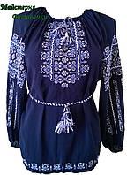 """Вишиванка жіноча """"Ілюзія"""" на синьому шифоні, блуза вишита білими та голубими нитками, машинна вишивка"""