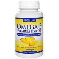 Омега-3 Рыбий жир для сердца, Omega-3 Premium fish oil, Madre labs,  180 мг EPA/120 мг DHA, 100 капсул, фото 1