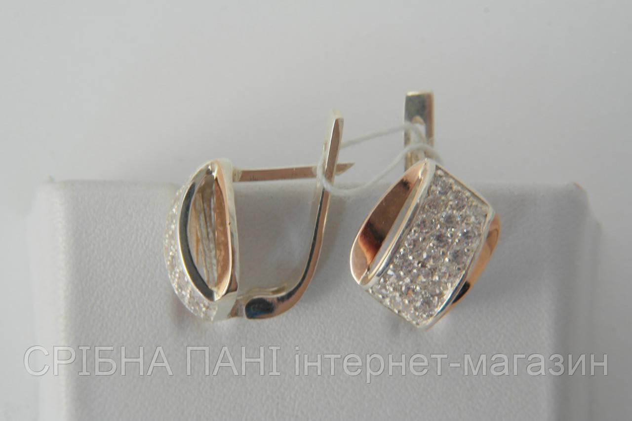 Женские серебряные серьги 925  оригинальной формы с фианитами ... 4087ae47977