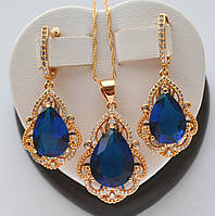 Красивый комплект Xuping покрытие золотом 18к с синими цирконами в виде капли.