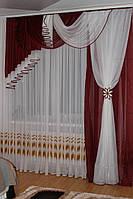 Комплект ламбрекен со шторой в спальню Агния 2м бордовый