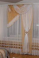 Комплект ламбрекен со шторой в спальню Агния 2м беж