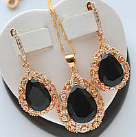 Шикарный комплект Xuping покрытие золотом 18к с черными цирконами в виде капли.