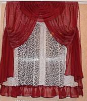 Тюль со шторами Стелла бордо