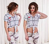 """Стильная женская короткая рубашка 2831 """"Коттон Клетка Ковбойка"""""""