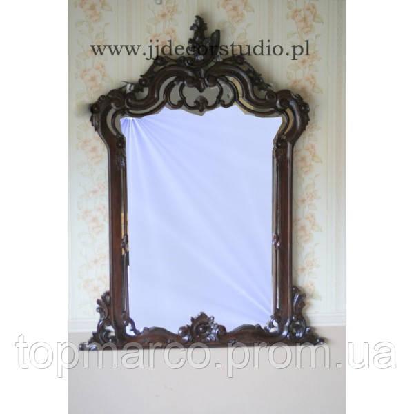 Большое деревянное зеркало с элементами ручной резьбы
