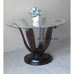 Журнальный столик со стеклянной столешницей, цветок