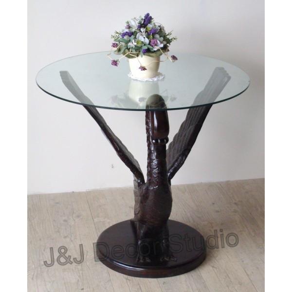 Журнальный столик со стеклянной столешницей, лебедь