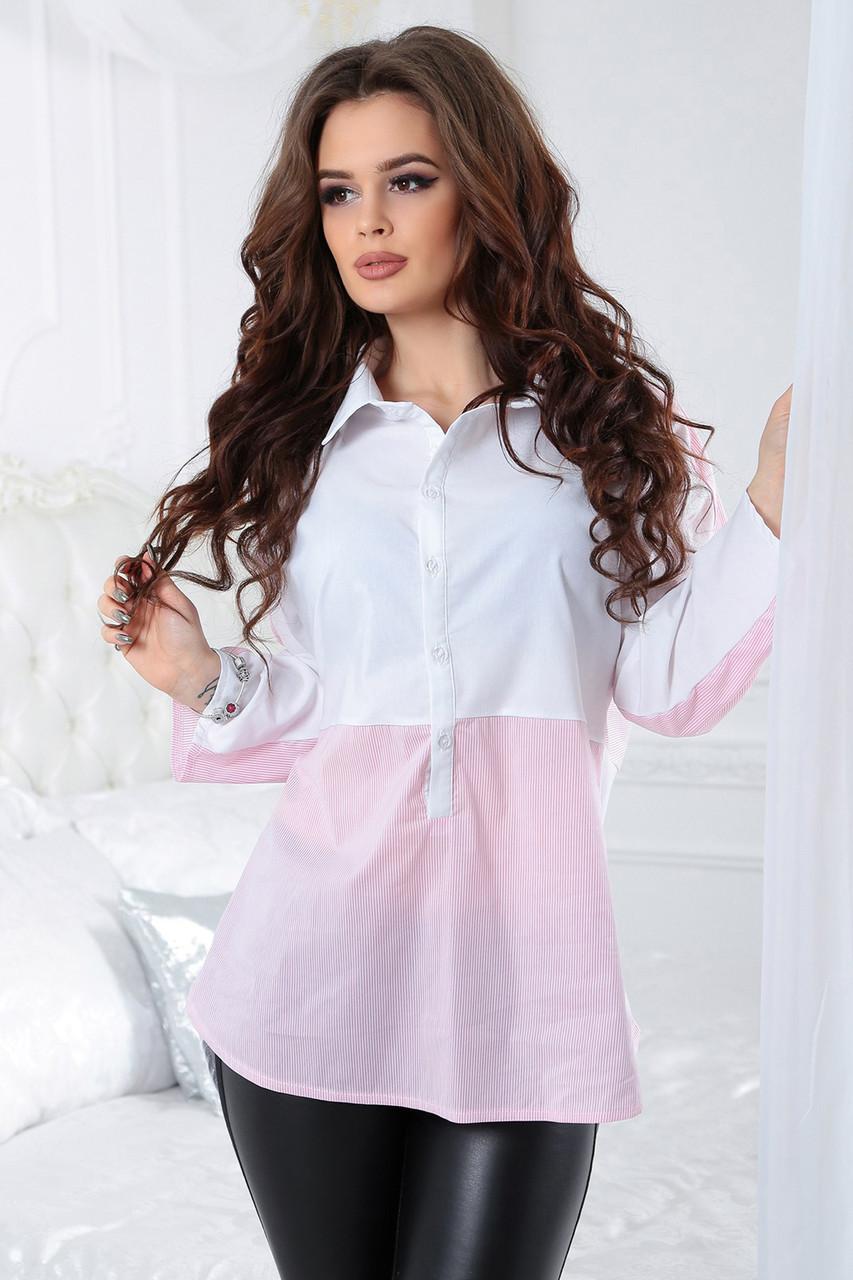 Комбинированная Блузка Алекса розовая