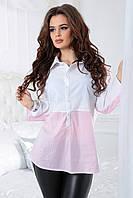Комбинированная Блузка Алекса розовая, фото 1