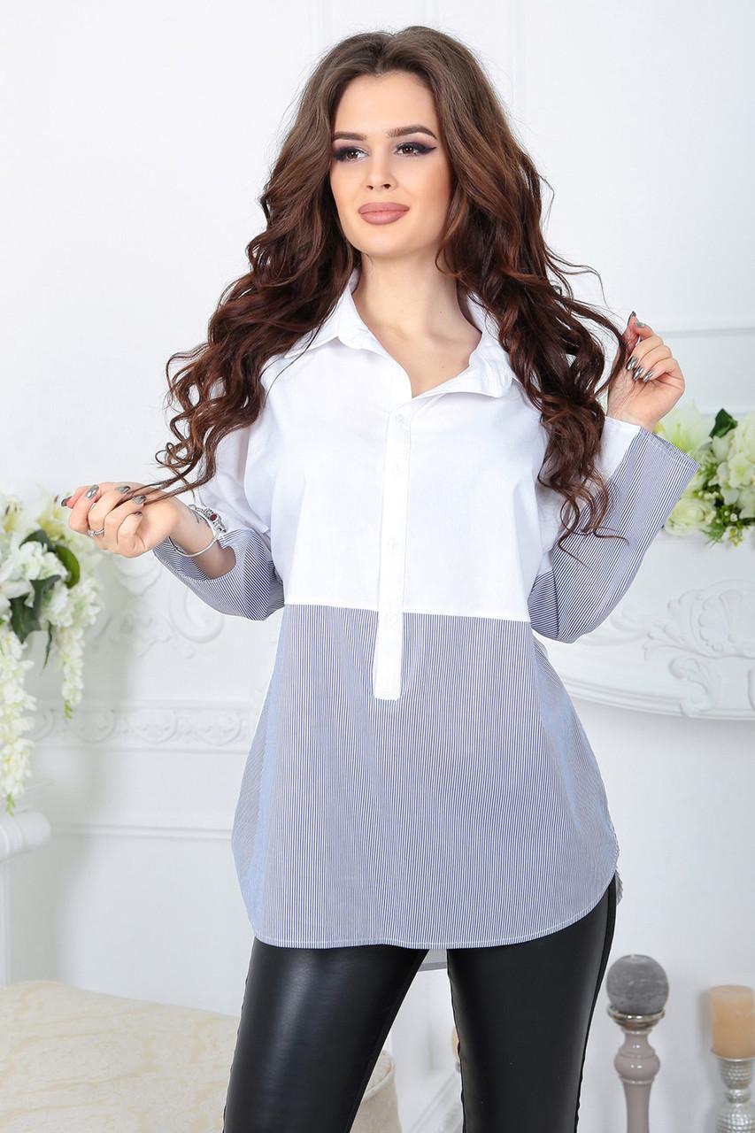 Комбинированная Блузка Алекса синяя