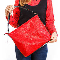 Красная женская сумка-мешок с одной ручкой на плечо шоппер 1371