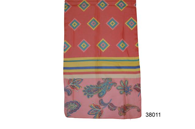 Женский красный с коралловым легкий шифоновый шарф 2
