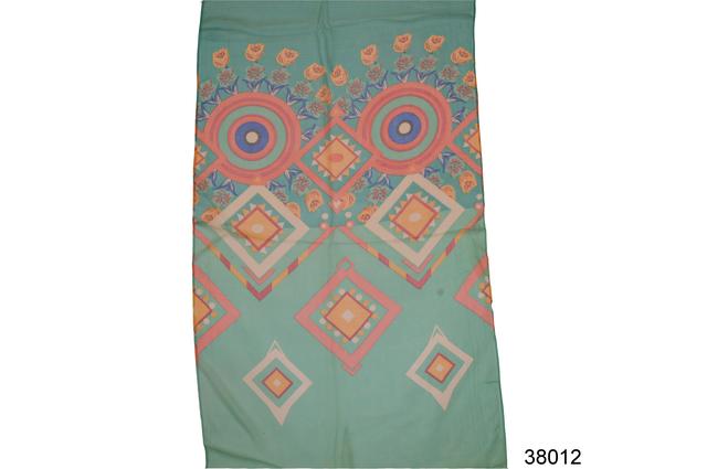 Женский ярко-бирюзовый с коралловым легкий шифоновый шарф 2