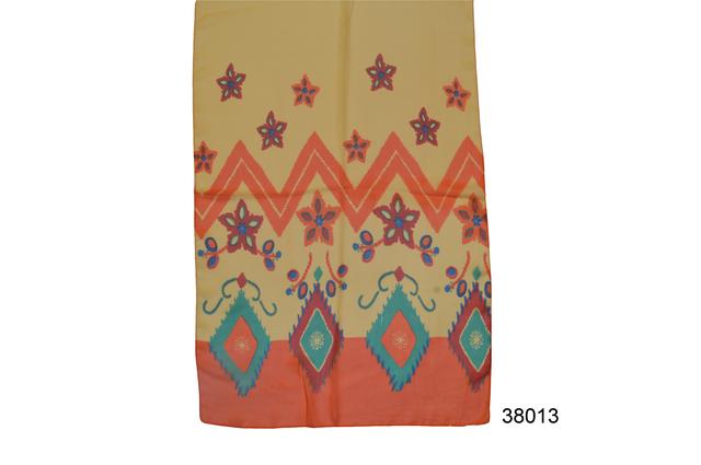 Женский желтый с оранжевым с коралловым легкий шифоновый шарф 2