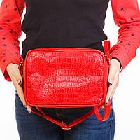 Красная сумочка через плечо крокодиловая яркая