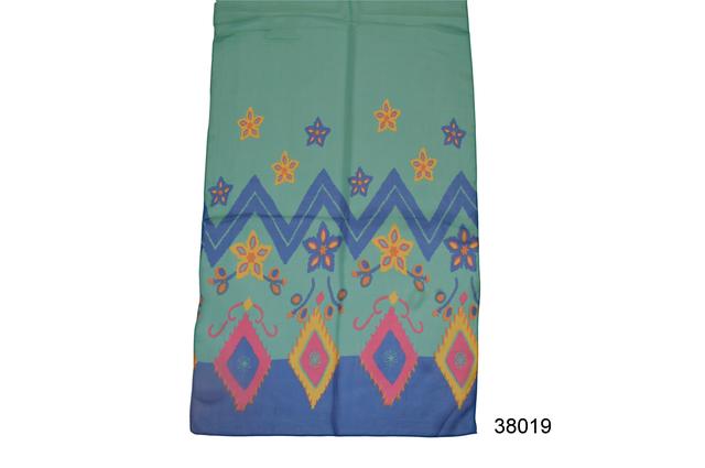 Женский легкий шифоновый шарф голубая бирюза 2