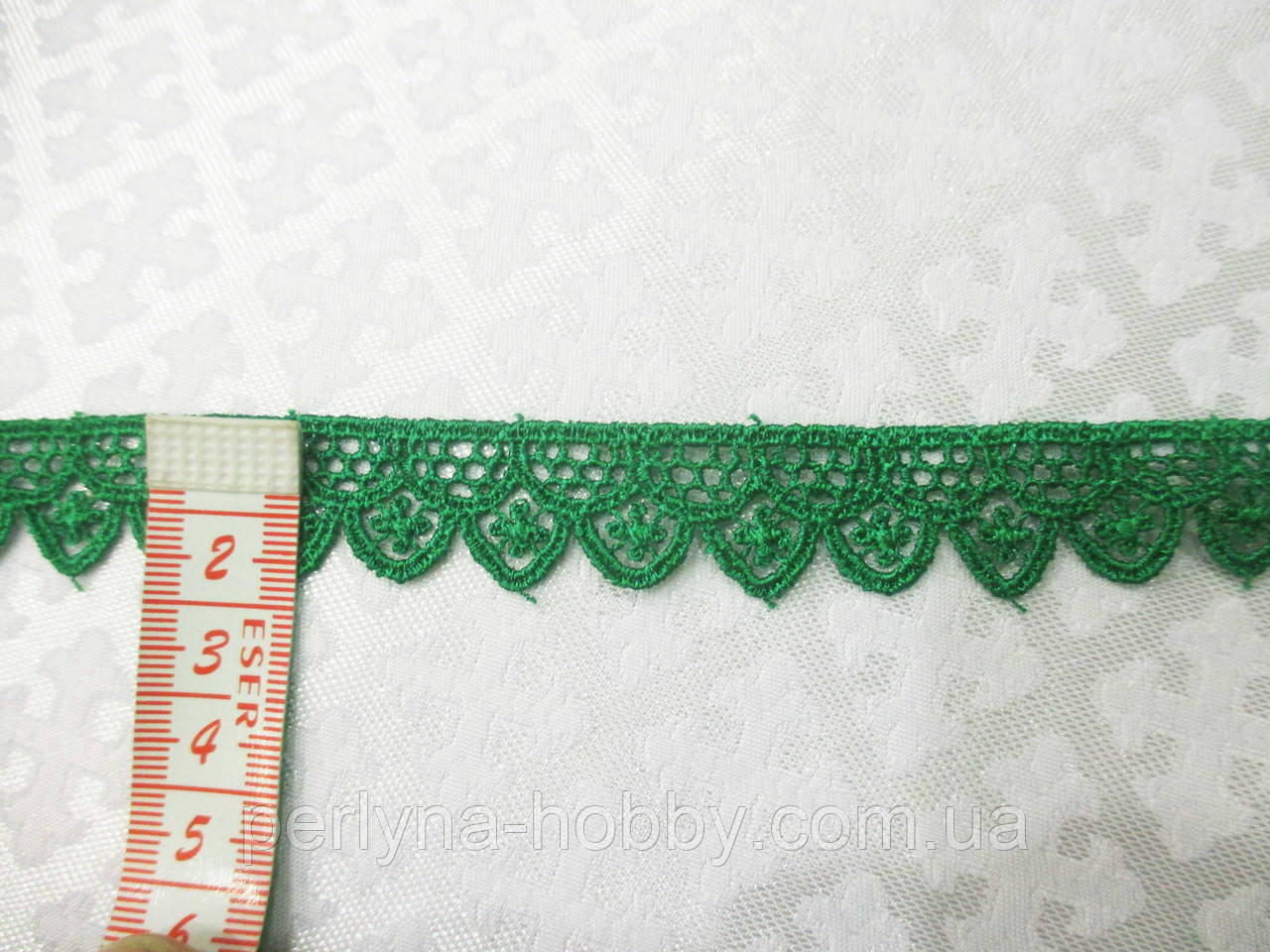 Мереживо кружево макраме на метраж зелене 2 см