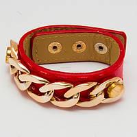 Браслет кожаный красный с цепочкой