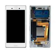Дисплей (экран) для Sony E2312/E2306/E2303 Xperia M4 Aqua Dual с сенсором (тачскрином) и рамкой белый