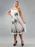 Платье длинное белое с  пальмами, роспись - ручная работа, до 58 р-ра