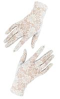 Короткие кружевные перчатки белые