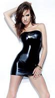 Кожаное платье без лямок