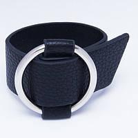 Браслет кожаный черный с кольцом