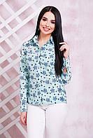 Блузка-рубашка женская для офиса с нежным притом Бантики мята