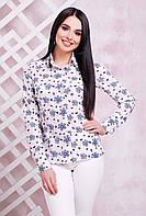 Блузка-рубашка женская для офиса с нежным притом Бантики белая