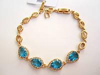 Браслет+ с камнями сердечко голубое, размер 17-20 см. регулируемый