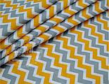 Лоскут ткани №545а ткань с серым и тёмно-жёлтым зигзагом,, фото 2