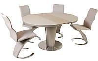 Стол обеденный круглый раскладной ТМ-518 кремовый, столешница МДФ с каленым стеклом, вставка стола цвета мокко
