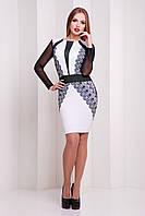 Облегающее платье с красивым принтом и рукавами из сетки Узор черный сукня Лея-2КС д/р