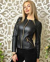 Женская кожаная стёганная куртка на молнии с карманами 42 44 46 48 50 52