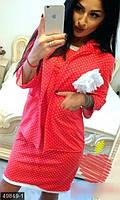 Модный женский костюм в горошек платье с коротким рукавом и пиджак рукав три четверти двух нить