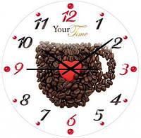 """Часы настенные """"Кофейные зерна"""" Ø28см стеклянные"""