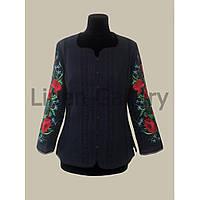 Блуза Муза темно-синя з маками