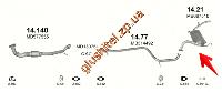 Глушитель Митсубиси Лансер (Mitsubishi Lancer) (14.21) 88-92 1.8D Polmostrow алюминизированный
