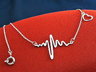 Модное серебряное колье 925 пробы Ритм Сердца Пульс