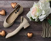 Универсальные туфли «Мери Джейн» с бархатистым верхом на каблуке-кирпичике   SH1142