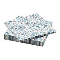 """IKEA """"ФИНСТИЛТ"""" Салфетка бумажная, синий, цветы, 33x33 см"""