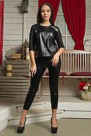 Женский стильный костюм из эко-кожи | Капри+Блуза