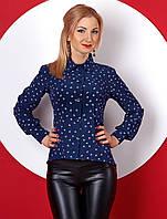 Женская рубашка с длинным рукавом темно-синего цвета с принтом сердечки. Модель 379.
